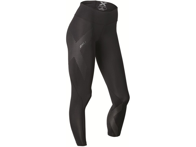 2XU Mid-Rise Compression Tights Dame black/dotted reflective logo